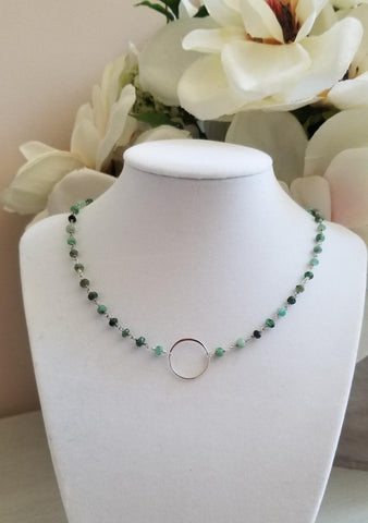 Raw Emerald Eternity Necklace
