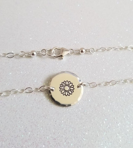 Dainty Sunflower Bracelet, Simple Everyday Bracelet