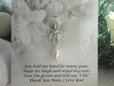 Sterling Silver Infinity Cross Necklace, Mother of the Bride Gift