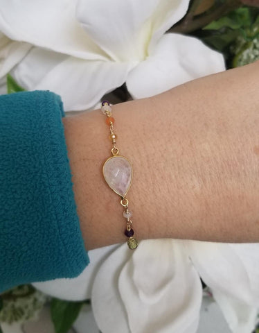 Gold Moonstone bracelet for Bridesmaid gifts