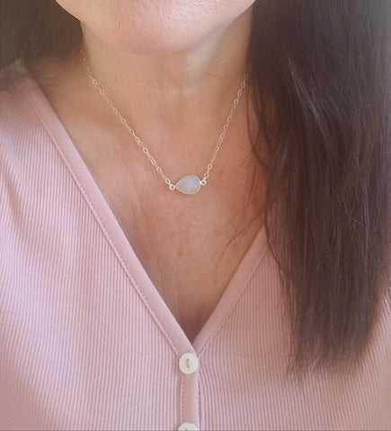 holiday gift for Mom, dainty silver necklace, Moonstone jewelry