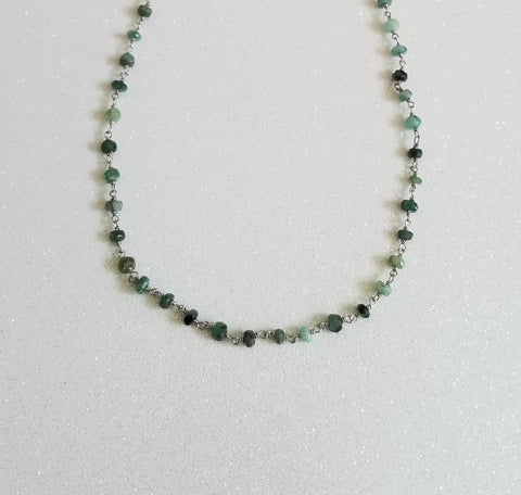 Dainty Raw Emerald Choker Necklace, Rosary Chain