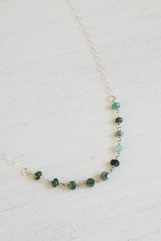 Dainty Beaded Choker Necklace, Sterling Silver