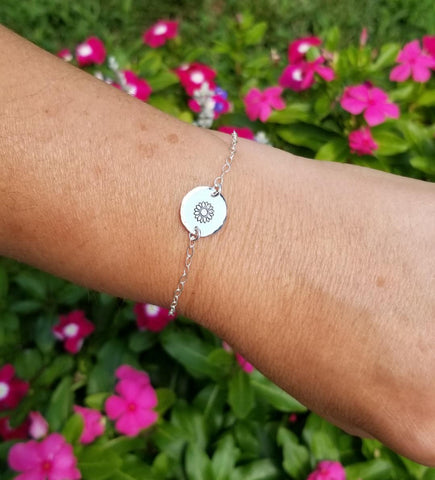 Dainty Bridesmaid Bracelet, Thin Gold Bracelet, Silver Sunflower Bracelet