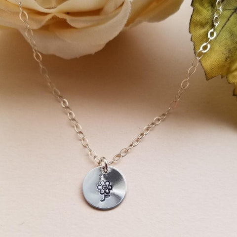 delicate silver necklace, small charm necklace, flower necklace, stamped jewelry