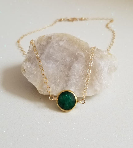 natural emerald necklace, dainty gold choker, May birthstone necklace, birthday gift for her