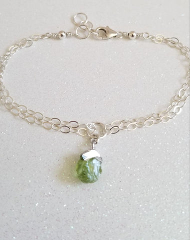Dainty Raw Peridot Bracelet, August Birthstone, Birthday Gift Idea