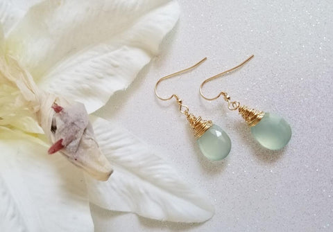 Dainty Gold Wire Wrapped Gemstone Earrings, Aqua Chalcedony Drop Earrings