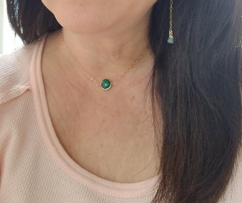 delicate gold choker, green emerald necklace, May birthstone jewelry
