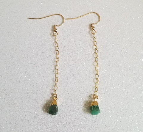 delicate gold earrings, natural emerald earrings, long drop earrings