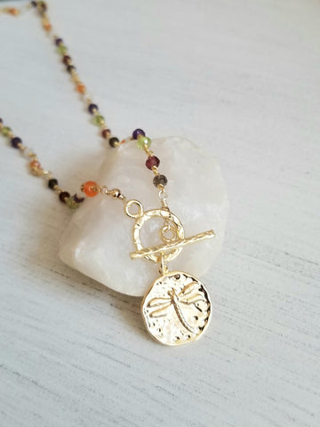 Gold Medallion Dragonfly Charm necklace, Gemstone Rosary Chain