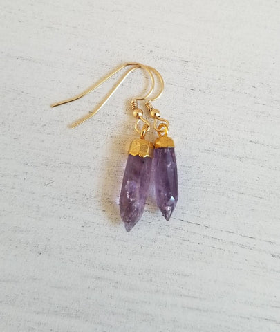 gift for best friend, February birthstone, small Amethyst earrings, natural gemstone jewelry