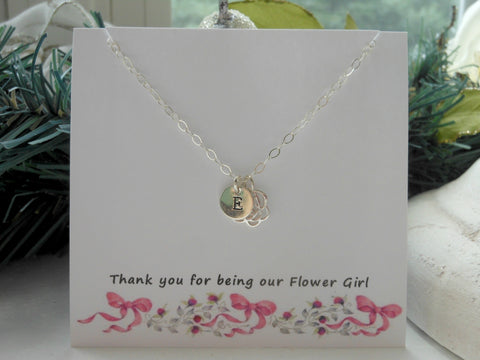 Flower Girl Gift, Personalized Rose Necklace