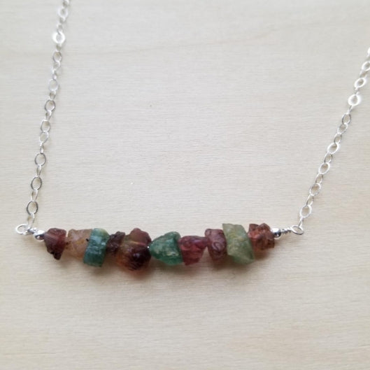 Raw Tourmaline Bar Necklace