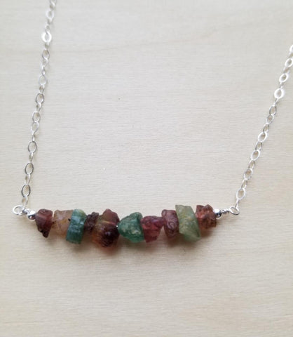 raw tourmaline necklace, dainty necklace, gift for her, Fabulous Creations Jewelry