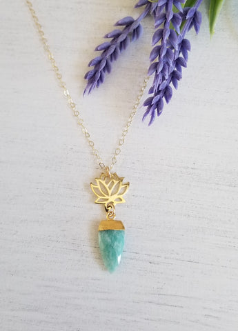 Natural Amazonite and Lotus Flower Pendant Necklace, Gift for Her