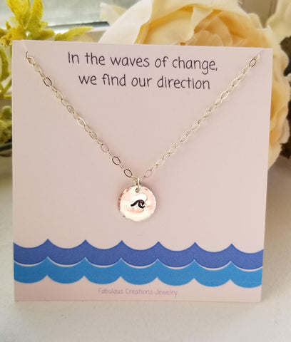 Ocean Wave Charm Necklace, Dainty Disc Necklace