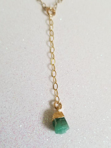 Dainty Raw Emerald Y Style Necklace, Gold or Sterling Silver