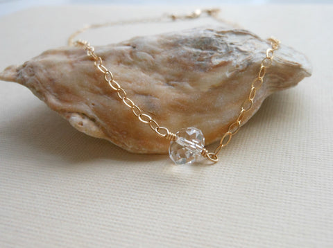 Dainty Gold Necklace, Gift for Bridesmaid, Crystal Necklace
