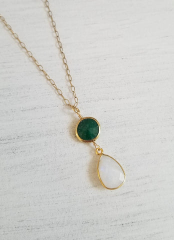May birthstone, gift for sister, Emerald necklace, Gold Moonstone Necklace