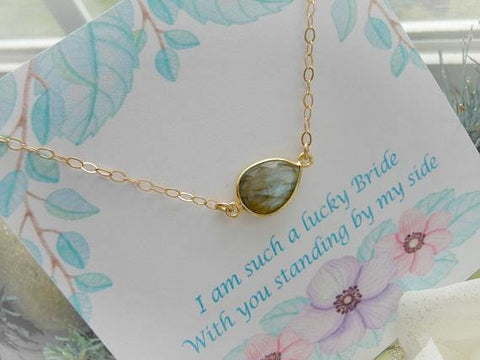Bridesmaid Gift, Gold Gemstone Necklace