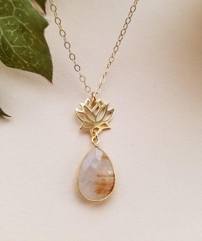 gold rutilated quartz, manifesting, yoga jewelry, lotus necklace, thin gold necklace