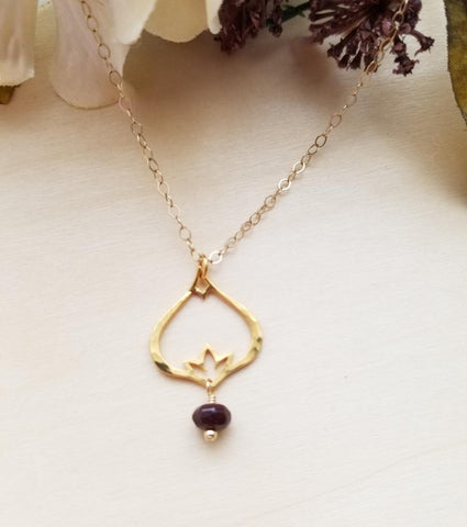 birthstone necklace, gold flower necklace, hammered jewelry, artisan jewelry, gemstone necklace