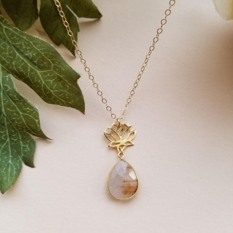 Gold Rutilated Quartz Lotus Flower Necklace