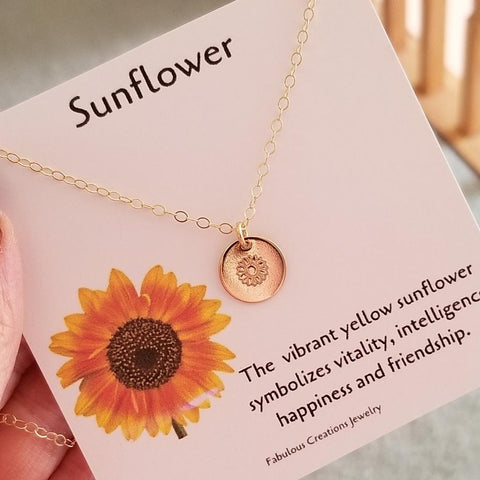 dainty gold necklace, custom stamped jewelry, Sunflower necklace, gift for best friend