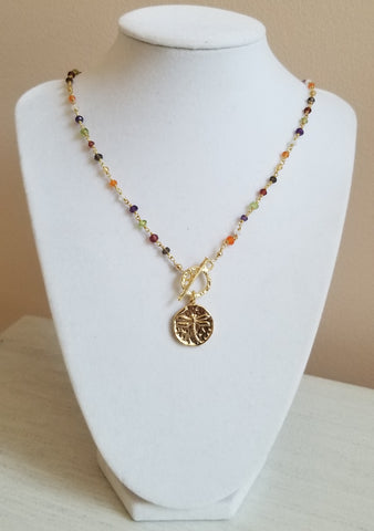 Christmas gift idea for women, Beaded gemstone necklace, Gold Front Toggle Neckalce
