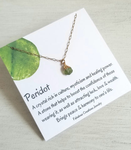 Raw Peridot Crystal Necklace, August Birthstone Necklace