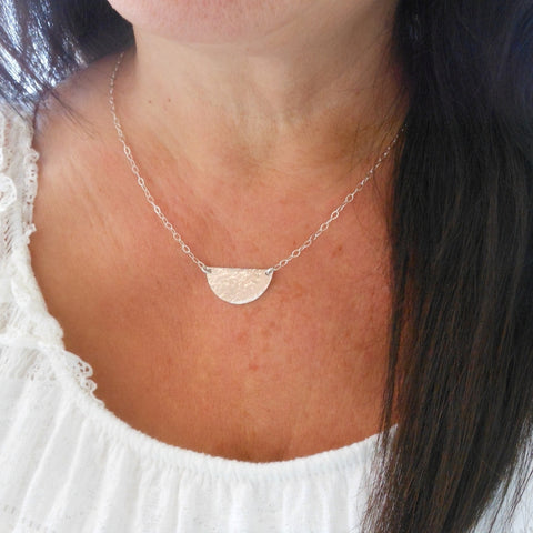 Hammered Half Moon Necklace, Sterling Silver or Gold Filled