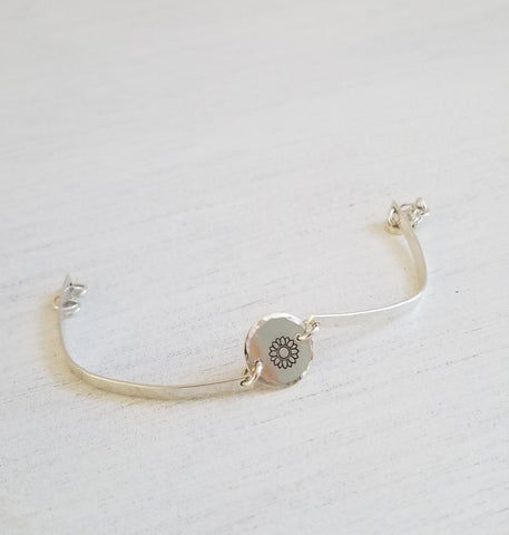 Thin Sunflower Bangle Bracelet, Sterling Silver