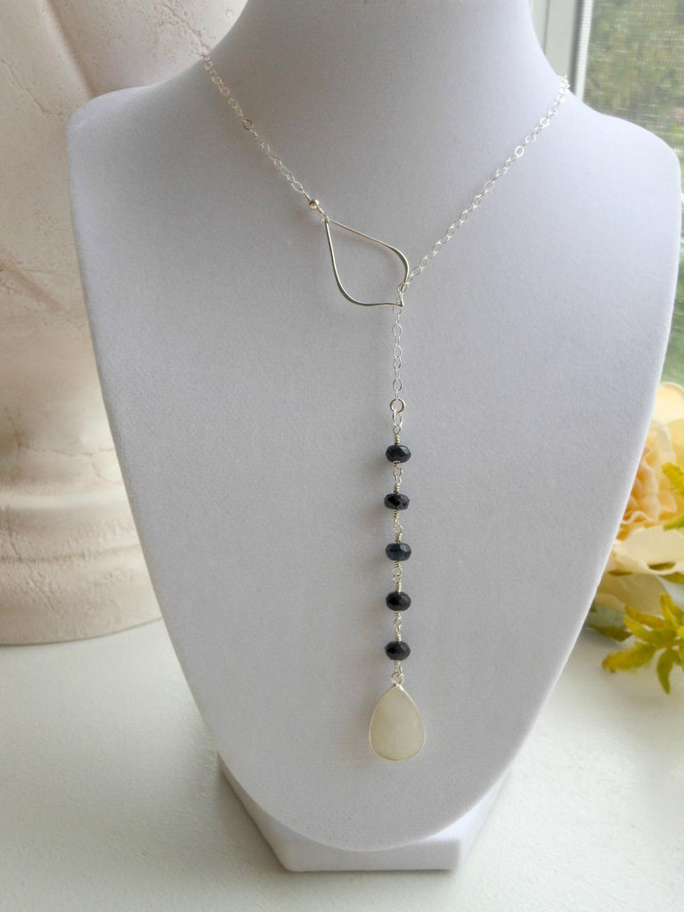 Sapphire and Moonstone Petal Lariat
