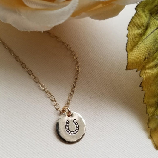 good luck charm, horseshoe necklace, custom jewelry, delicate gold necklace