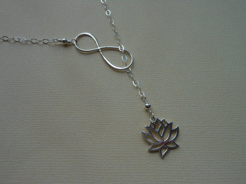 Lotus Flower Lariat, Infinity Y Necklace, Sterling Silver, Yoga