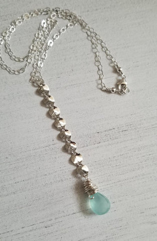 Long Necklace and Earrings Set, Aqua Chalcedony Jewelry Set