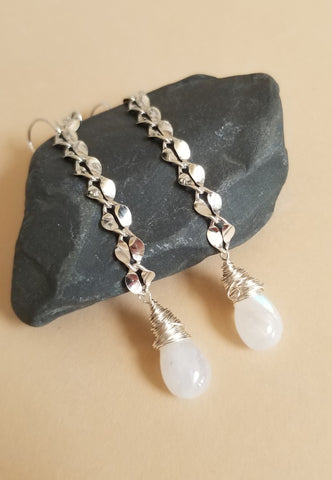 Long Sterling Silver Moonstone Teardrop Earrings