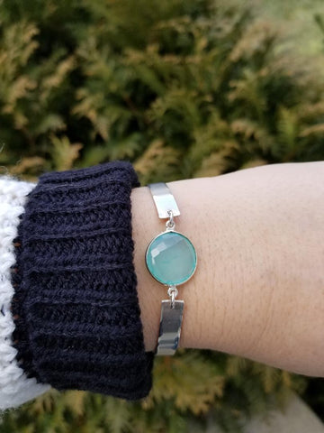 custom bracelet, silver bangle with gemstone, gift for women, aqua chalcedony bracelet