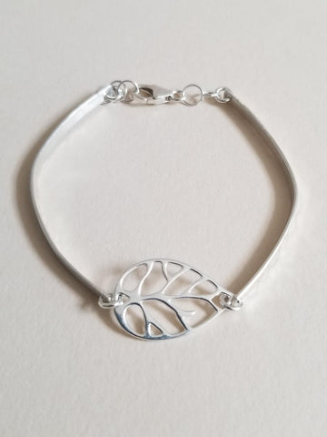 Sterling Silver Skinny Bangle with Leaf Design