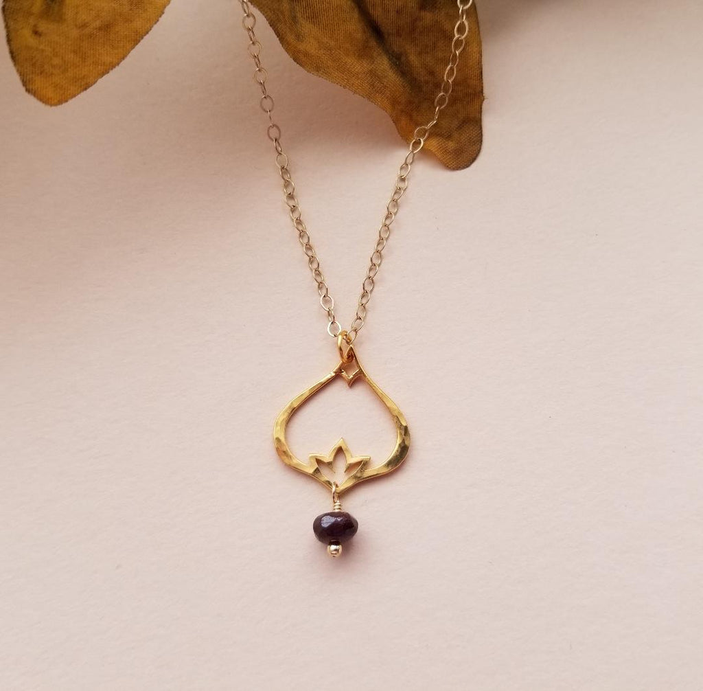 stylized flower necklace, birthstone necklace, hammered gold lotus necklace