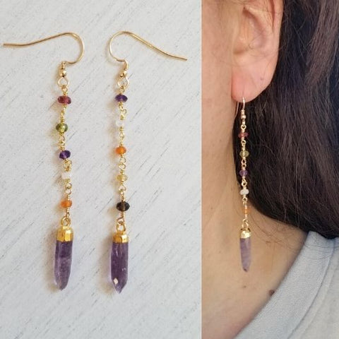 Long Multi Gemstone Earrings, Amethyst Spike Earrings