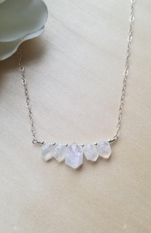Sterling Silver Moonstone Necklace, Crystal Necklace Limited Edition