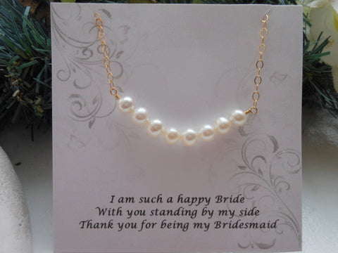 Gold Pearl Necklace, Gift for Bridesmaids