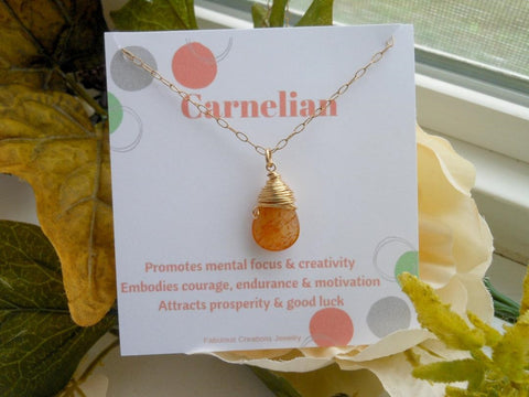 Gold Orange Carnelian Necklace, Positive Energy Necklace