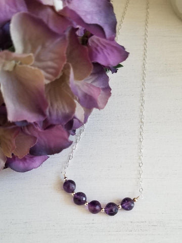 February Birthstone Necklace, Amethyst Necklace, Inspirational Gift for Friend