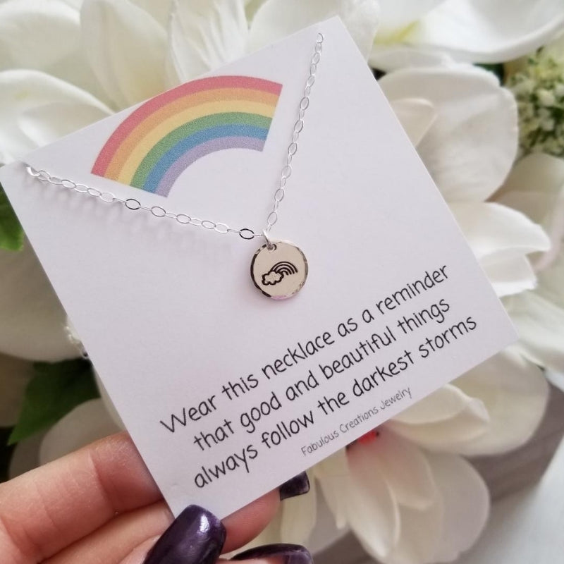 Rainbow Charm Necklace, Dainty Layering Necklace