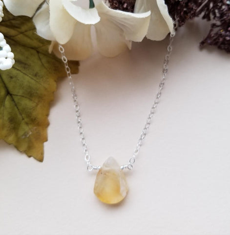 raw citrine crystal, happiness stone, Citrine necklace