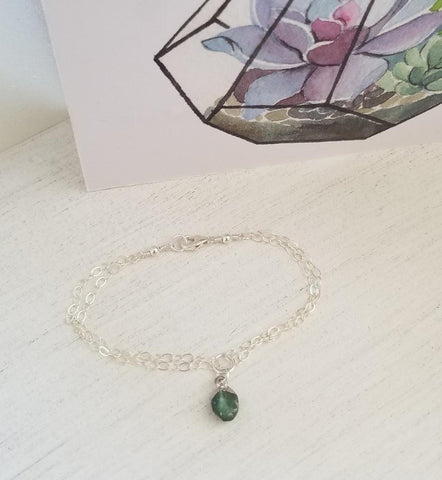 Dainty Raw Emerald Bracelet, Sterling Silver or Gold Filled