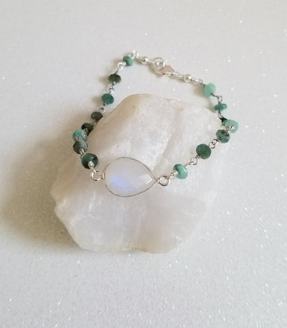 Emerald Rosary Chain and Moonstone Bracelet